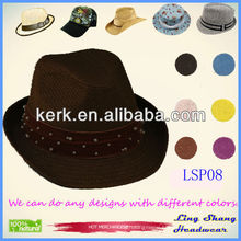 2013 High Quality Summer Newest Beaded 100% Paper Straw Hat,LSP08
