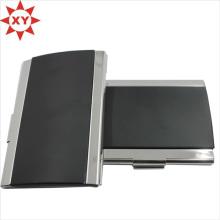 Черная кожаная обертка, металлическая визитница, держатель для именной карты, держатель для идентификационной карты
