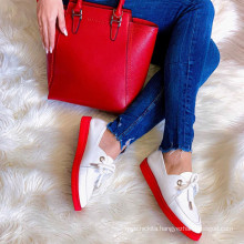 Wholesale Colorful Women Lace Up Flat Shoes Women Casual Leather Sneakers