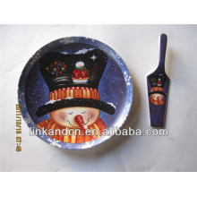 KC-02547snowman ceramic plates,for kids funny round pizza/cake plates with server