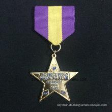 Benutzerdefinierte Znic Legierung Medaille Goldmedaille fünfzackige Sterne Medaille zwei Stück Kombination Medaille