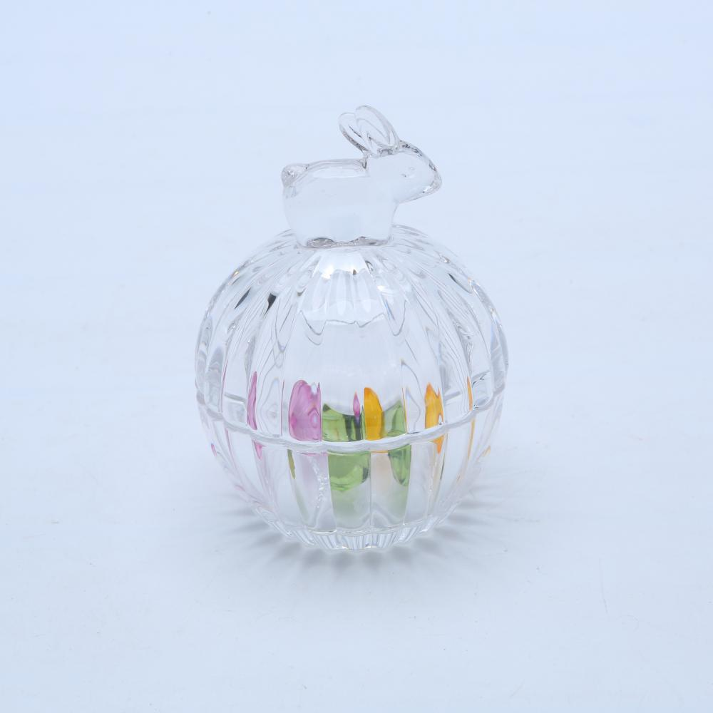 Ribbed Bunny Clear Glass Candy Jar With Lid
