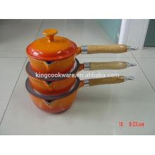 cast iron enamel milk pot with wood handle