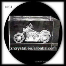 K9 3D Laser Subsurface Motorcycle Inside Crystal Block