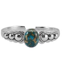 Натуральный Синий Меди Бирюзовый Драгоценных Камней 925 Серебряный Браслет
