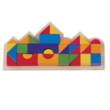 Castle Blocks bunte hölzerne Geometrische Baustein in Holzkiste
