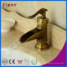Fyeer Teapot Bathroom Waterfall - Grifería de latón antiguo para lavabo