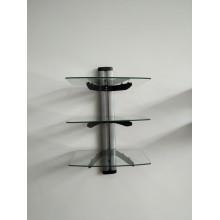 Support en verre 3 couches en verre / tube en argent avec verre transparent