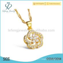 Ladies design flower diamond necklace,vintage copper necklace jewelry