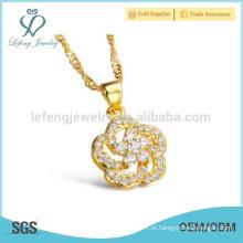 Senhoras design flor colar de diamantes, colar de cobre vintage jóias