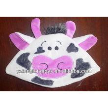 Alta calidad cute y adorable vaca cara felpa sombrero bebé
