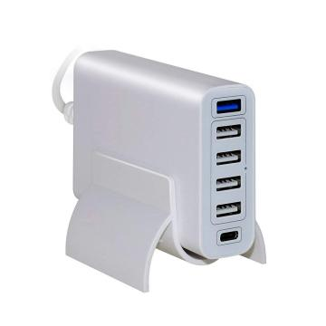 60W de 6 puertos USB PD Type-C 3.0 Cargador de pared