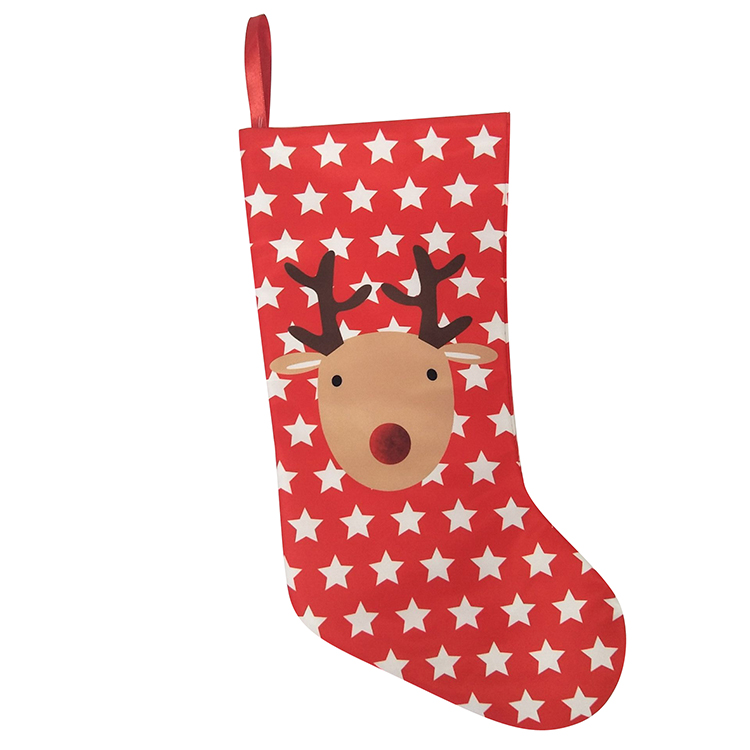 Printed Reindeer Christmas Stocking