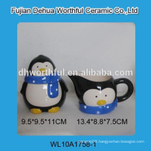 Wholesale cute penguin shaped ceramic sugar and creamer set with spoon
