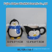 Оптовая милый пингвин форме керамический сахар и сливки с ложкой