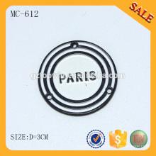 MC612 2014 sac à main rond logo étiquette en métal personnalisé