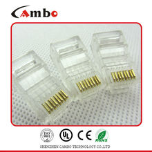 High quality CAT5E/CAT6 Stranded Solid network cable 8P8C unshielded/shielded Gold Plated 8p8c plug in dongguan