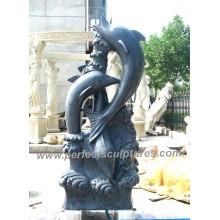 Carving Stein Marmor Delphin Skulptur Tier für Garten Statue (SY-B147)