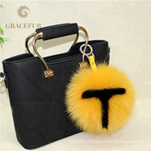 Real fox fur the letter Design pom-pom keychain