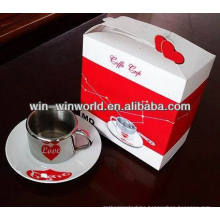 Double Wall Heart Design Stainless Steel Ceramic Coffee Mug