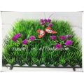 Новый дизайн UV доказательство 25*25 искусственная дерновина травы с цветами и бабочка