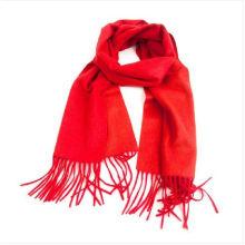 Winter red long plain viscose scarf
