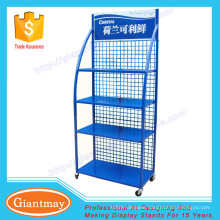 4 layers moveable moto oil metal display rack with wheels