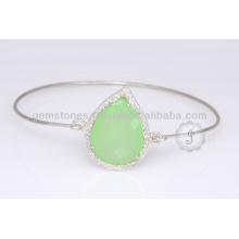 Wholesale Supplier Of Chalcedony Sterling Silver Gemstone Bangle For Best Gift