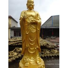 alta qualidade tibetano antique standing buda estátua bronze