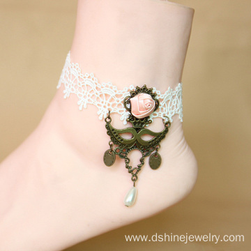 Wedding Bridal White Lace Anklet Crochet Beach Foot Jewelry