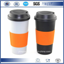 Double Wall PP Plastic Coffee Travel Mug, PP Coffee Cup, Plastic Tumblers with Silicone Wrap