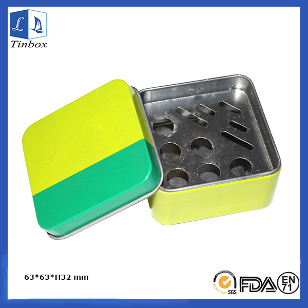 Square Metal Ashtray With Lid
