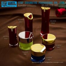 Alta calidad innovadora nobel atractivo venta caliente redondo cintura loción botella crema tarro acrílico envasado y