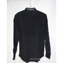 Camisa de blusa casual preta estampada de verão