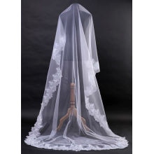 1T weißes Elfenbein-elegantes Spitze-Rand-Brauthochzeitskleid Hochzeits-Schleier-Kathedrale