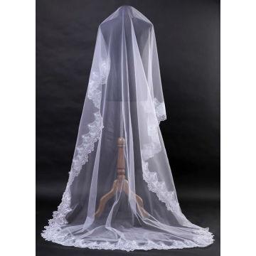 1Т Белый Кот элегантный кружева край свадебное платье фата Собор