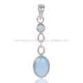Pendente feminino de pérolas de prata esterlina Blue Onyx 925 Sterling Silver
