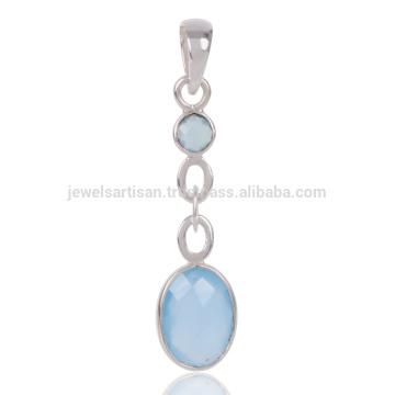 Кулон синий Оникс драгоценных камней 925 Серебряный женщин