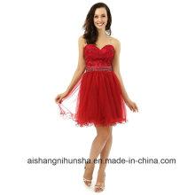 A-Line Sweetheart Mini Appliques con cuentas organza cóctel vestido de fiesta