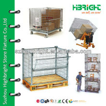 Wire mesh container with wooden pallet