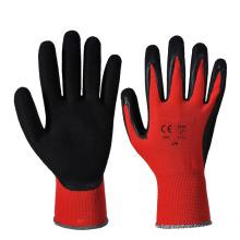 Flexible Industrie Arbeit Red Liner Polyester Schwarz Sandy Nitril beschichtet Handschuhe