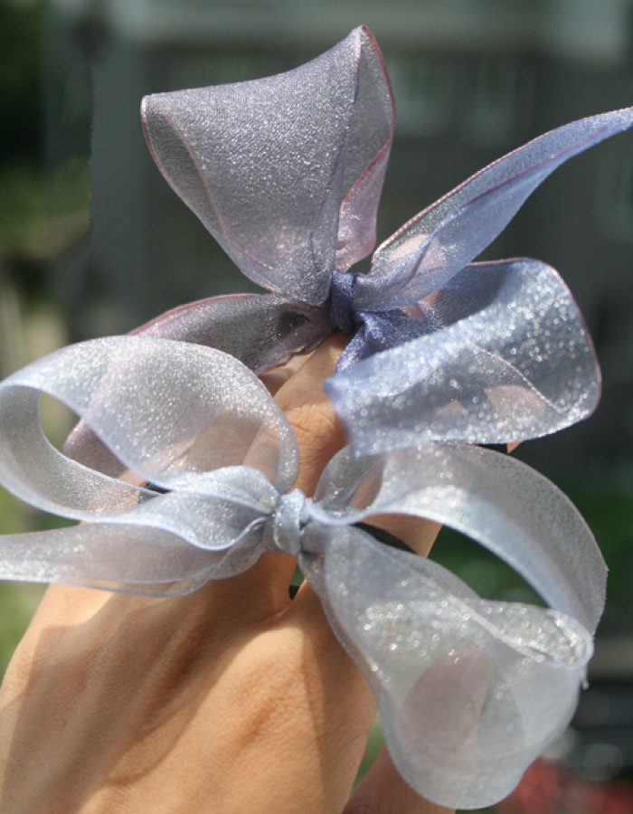 organza bow purple
