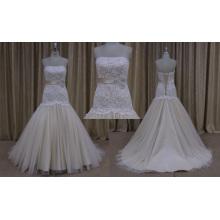 off Shoulder Champagne Color Bridal Wedding Dress