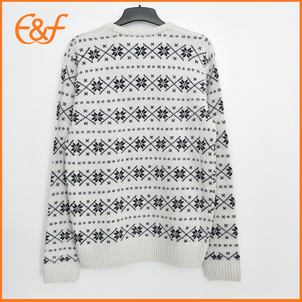 Mens Acrylic Snow Pattern Casual Jacquard Sweater