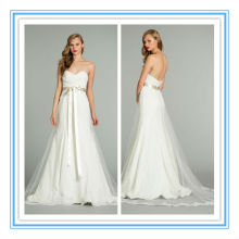 Fashion Strapless A-line Tulle Silver Sash Wedding Dress 2012(WDJL-1012)
