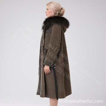 호주 메리노 Shearling Long Coat Winter