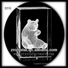 K9 3D subsuelo láser Panda dentro rectángulo de cristal