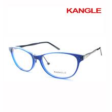 Mais novo design Lady lendo óculos molduras acetato óptico óculos e acetato mistura com metal