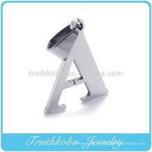 2016 venta caliente brillante pulido plata acero inoxidable letra personalizada AB y así en alfabetos diseños Metal colgante