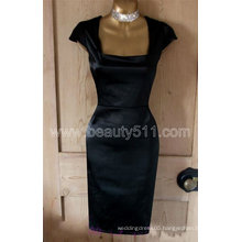 New Design Vintage 40s 50s style black satin Hollywood Galaxy pencil wiggle pinup dress GP009